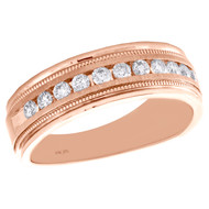 10K Rose Gold Round Diamond Wedding Band Milgrain Channel Set 7mm Ring 1/2 CT.