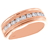 10K Rose Gold Round Diamond Wedding Band Milgrain Channel Set 7.75mm Ring 1 CT.