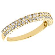 10K Yellow Gold Real Round Diamond 2 Row Prong Set Wedding Band 3mm Ring 1/2 CT.