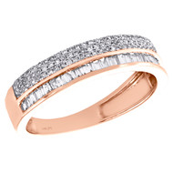 14K Rose Gold Round & Baguette Diamond Cluster Wedding Band 5mm Ring 1/2 CT.