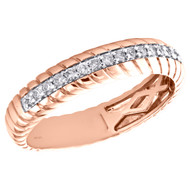 14K Rose Gold Round Cut Diamond Swirl Eternity Wedding Band 4.50mm Ring 1/5 CT.