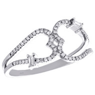 14K White Gold Baguette Diamond Double Heart Ring 9.50mm Cocktail Band 1/5 CT.