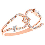 14K Rose Gold Baguette Diamond Double Heart Ring 9.50mm Cocktail Band 1/5 CT.
