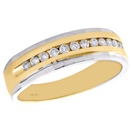 10K Two Tone Gold Round Diamond Wedding Band Channel Set 6.50mm Ring 1/3 CT.