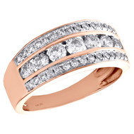 14K Rose Gold Real Round Diamond Wedding Band Ladies 11mm Channel Set Ring 1 CT.