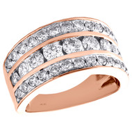14K Rose Gold Real Round Diamond Wedding Band Ladies 11mm Channel Set Ring 2 CT.