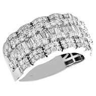 10K White Gold Round & Baguette Diamond Wedding Band 12mm Statement Ring 2.35 CT