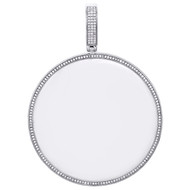 "10K White Gold Real Diamond Medallion Picture Memory Frame Pendant 3"" Charm 1 CT"