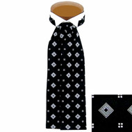 Formal 100% Woven Silk Ascot -Black & white