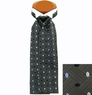 Formal 100% Woven Silk Ascot -Charcoal, White and Light Blue