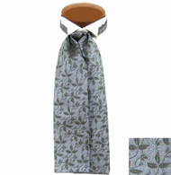 Formal 100% Woven Silk Ascot -Grey with Olive Tone