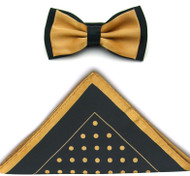 Antonio Ricci Two-Tone Polka Dot Hankie/Bow Tie Set - Black & Gold