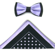 Antonio Ricci Two-Tone Polka Dot Hankie/Bow Tie Set - Black & Lilac