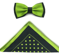 Antonio Ricci Two-Tone Polka Dot Hankie/Bow Tie Set - Black & Lime