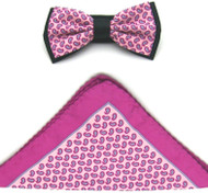 Antonio Ricci Two-Tone Small Paisley Hankie/Bow Tie Set - Hot Pink & Light Pink