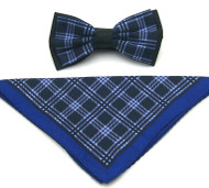 Antonio Ricci Plaid Hankie/Bow Tie Set - Navy & Royal
