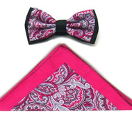 Antonio Ricci Fancy Paisley Two-Tone Bow Tie & Pocket Square - Fuchsia