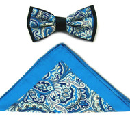 Antonio Ricci Fancy Paisley Two-Tone Bow Tie & Pocket Square - Turquoise