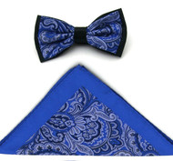 Antonio Ricci Fancy Paisley Two-Tone Bow Tie & Pocket Square - Royal
