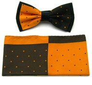 Antonio Ricci Fancy Two-Tone Bow Tie & Pocket Square - Brown & Orange