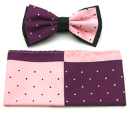 Antonio Ricci Fancy Two-Tone Bow Tie & Pocket Square - Pink & Plum