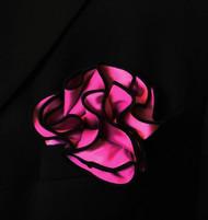 Antonio Ricci 2-in-1 Pouf Pocket Square - Black on Fuchsia Pink