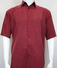 Sangi Modal Blend Short Sleeve Camp Shirt - Red
