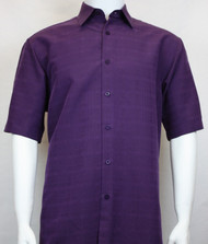 Sangi Modal Blend Short Sleeve Camp Shirt - Purple Plaid Weave