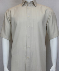 Sangi Modal Blend Short Sleeve Camp Shirt - Sand Geometric Weave