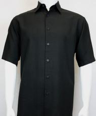 Sangi Modal Blend Short Sleeve Camp Shirt - Black Geometric Weave