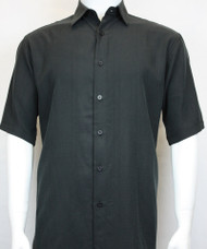Sangi Modal Blend Short Sleeve Camp Shirt - Black Micro Stripe Design