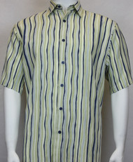 Sangi Modal Blend Short Sleeve Camp Shirt - Sage Wavy Stripe Design