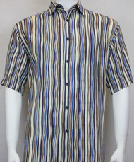 Sangi Modal Blend Short Sleeve Camp Shirt - Blue Wavy Stripe Design
