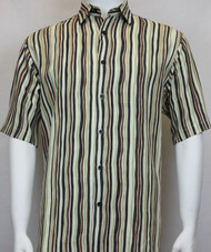 Sangi Modal Blend Short Sleeve Camp Shirt - Brown Wavy Stripe Design
