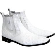 Vestigium Genuine Ostrich Quill & Calf Ankle Dress Boot - White