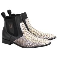 Vestigium Genuine Python Snake Skin & Calf Ankle Dress Boot - Black & Natural