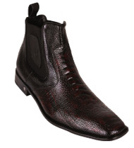 Vestigium Genuine Ostrich Leg & Calf Ankle Dress Boot - Black Cherry