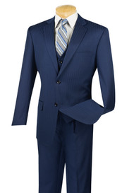 Vinci 2-Button Blue Tonal Stripe with Vest Suit - Pleated Slacks