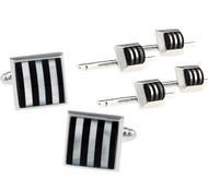 Formal Genuine Mother-of-Pearl & Onyx Cufflinks and Studs