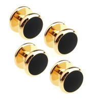4 Round Black Enamel Gold Formal Studs