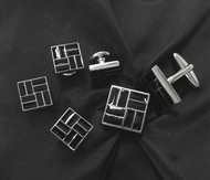 Black Grid Design Cufflinks & Formal Studs