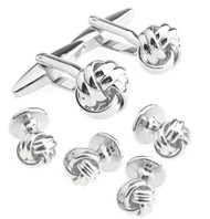 Silver Love Knot Cufflinks & Formal Studs
