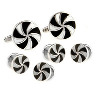 Black & White Pinwheel Design Cufflinks & Formal Studs