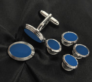 Blue Oval Design Cufflinks & Formal Studs