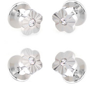 4 Crystal Flower Formal Studs