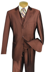 Vinci 3-Button with Vest and Pleated Slacks Amber Sharkskin Suit