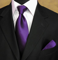 Luciano Ferretti 100% Woven Silk Necktie with Pocket Square - Deep Purple