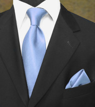 Luciano Ferretti 100% Woven Silk Necktie with Pocket Square - Light Blue
