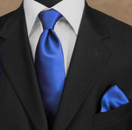 Luciano Ferretti 100% Woven Silk Necktie with Pocket Square - Rich Blue