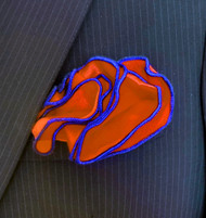 Antonio Ricci 2-in-1 Pouf Pocket Square - Royal on Orange